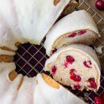 Overhead image of sliced, iced cranberry bundt cake
