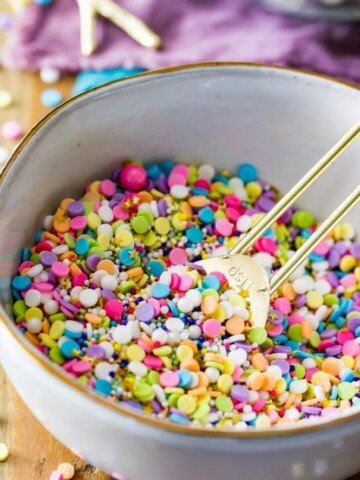 Bowl of colourful sprinkles