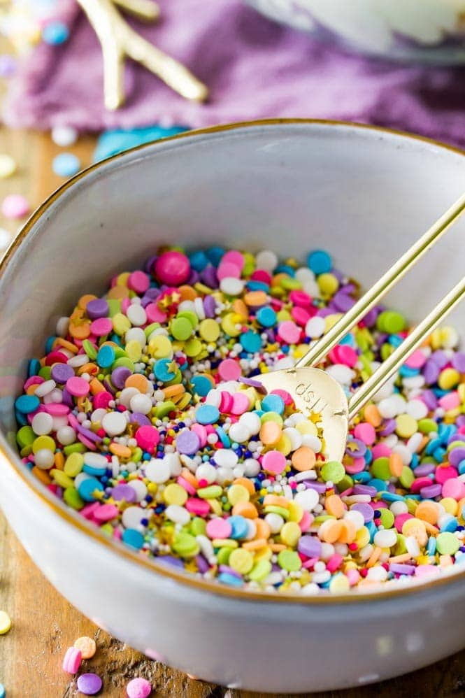 A bowl of colorful sprinkles