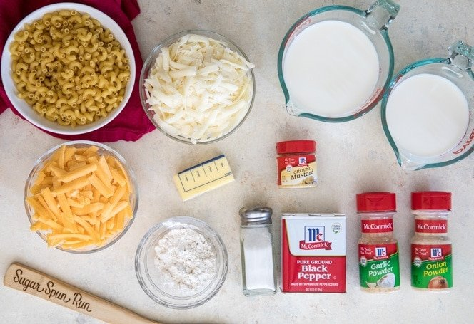 Ingredients for making Baked Mac and Cheese