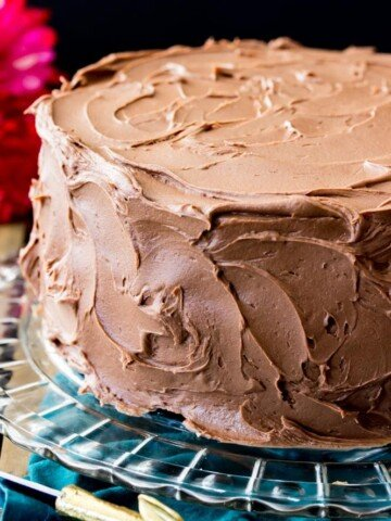 Chocolate frosting on cake
