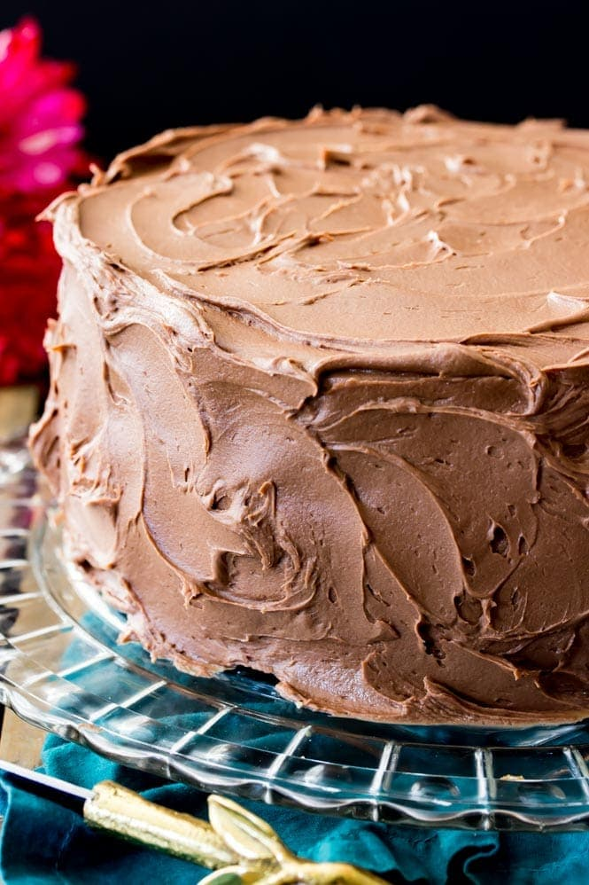 Chocolate frosting on a two-layer cake