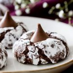 Chocolate kiss cookies with powdered sugar