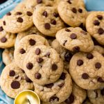 Plate of mini chocolate chip cookies