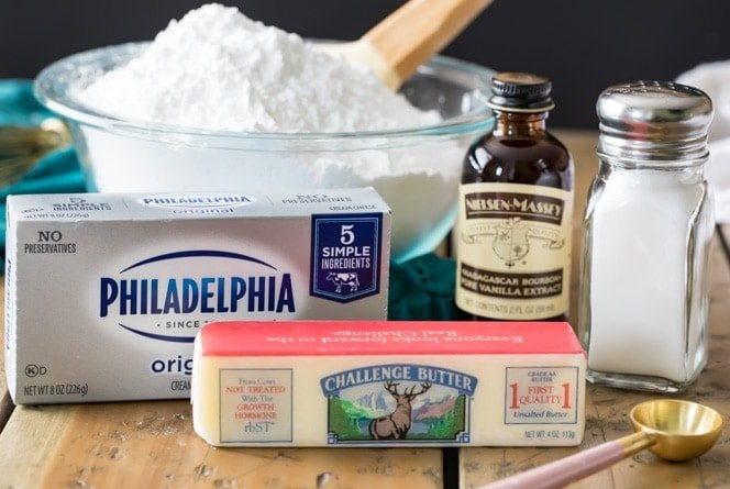 The 5 ingredients needed to make cream cheese frosting -- powdered sugar, cream cheese, butter, vanilla extract, salt