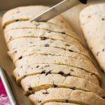 Baked biscotti sliced into slivers