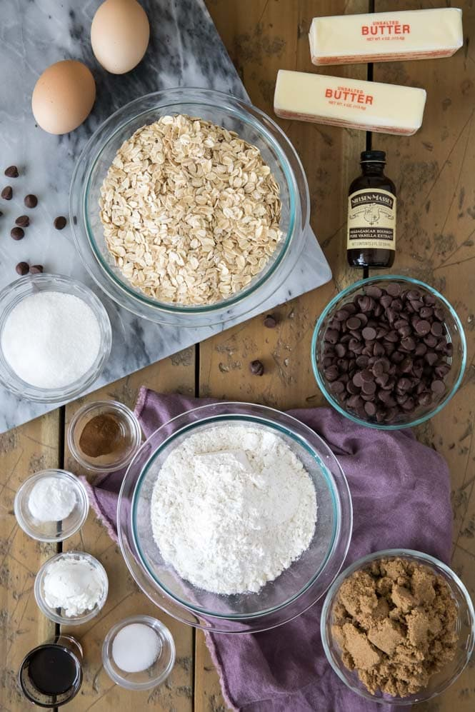 Ingredients for Oatmeal Chocolate Chip Cookies