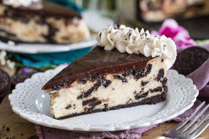 Baked Oreo Cheesecake on a table setting