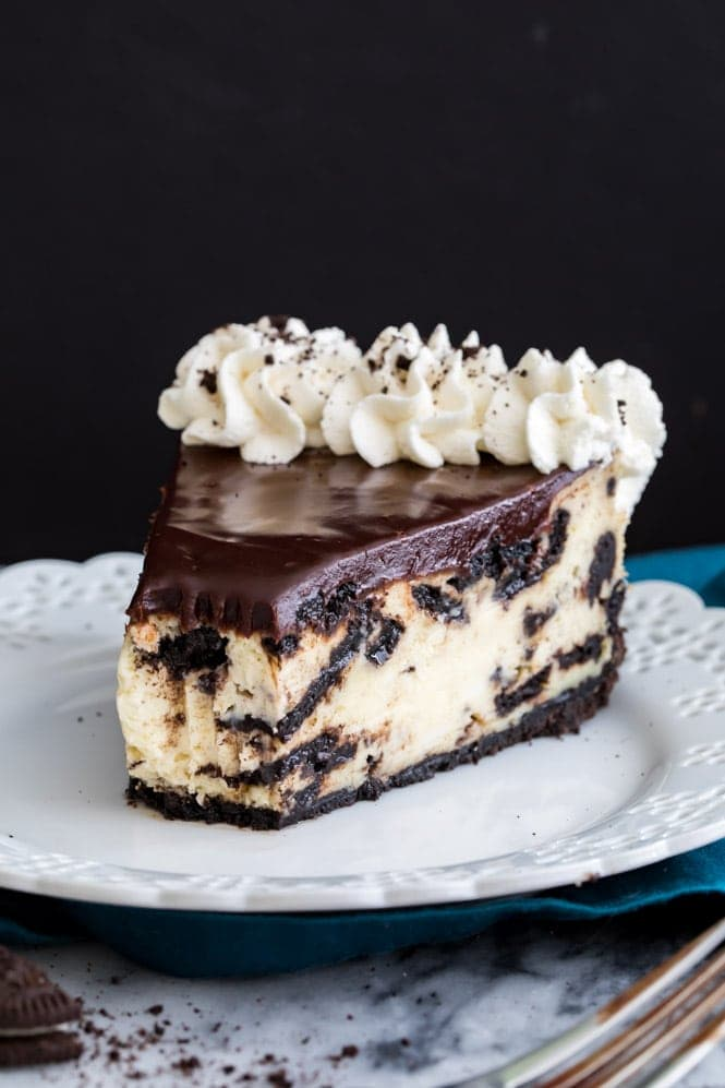 Oreo Cheesecake on a white plate