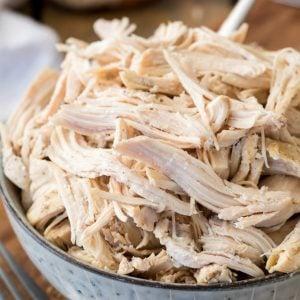 Shredded chicken in bowl
