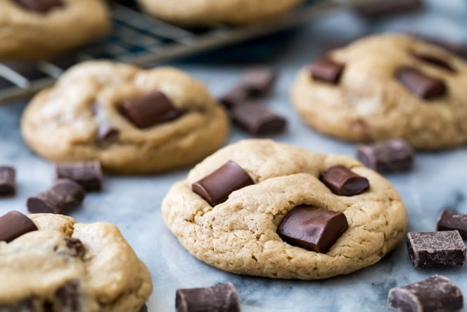 Chocolate chip cookies surrounded by chocolate chunks