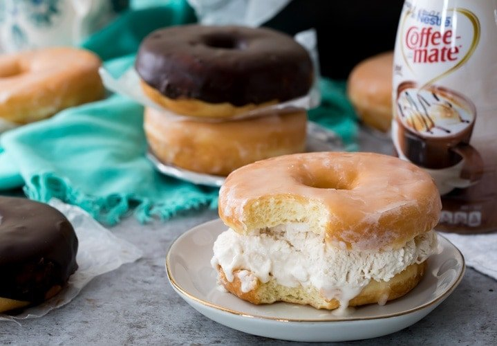 Donut ice cream sandwich on plate