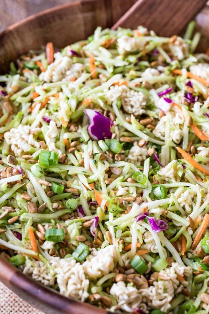 A bowl full of ramen noodle salad