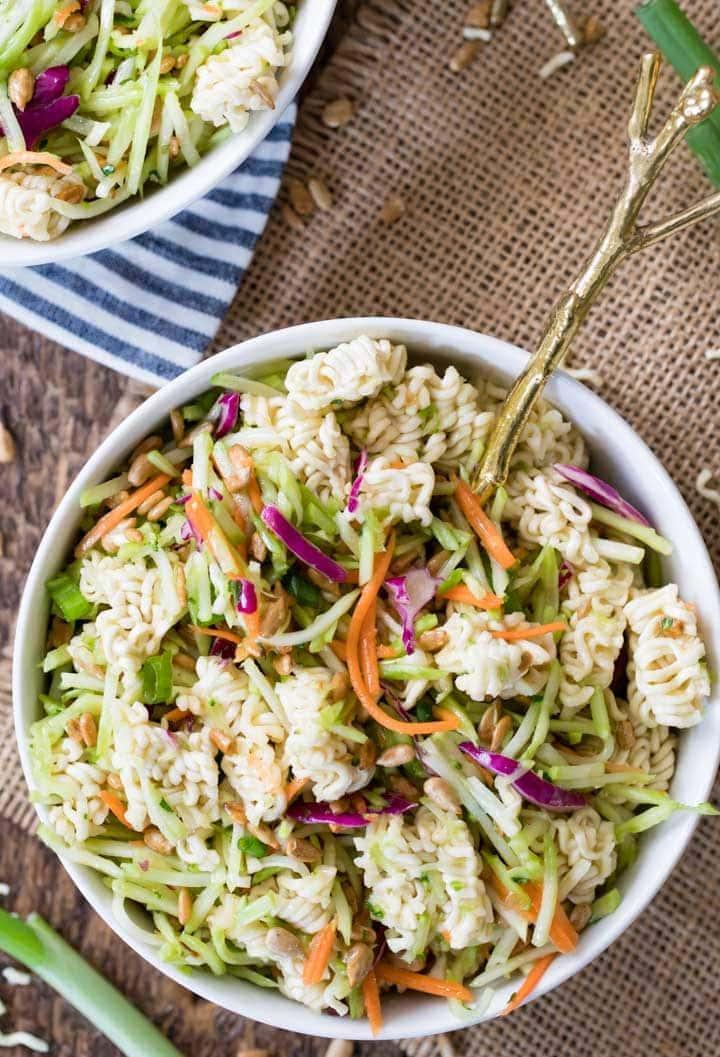 Ramen noodle salad in bowl