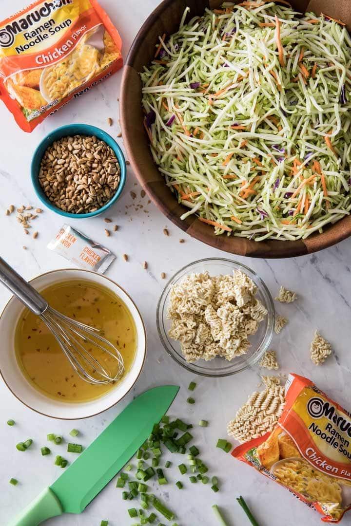 Ingredients for ramen noodle salad