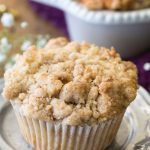 Coffee cake muffin with streusel topping