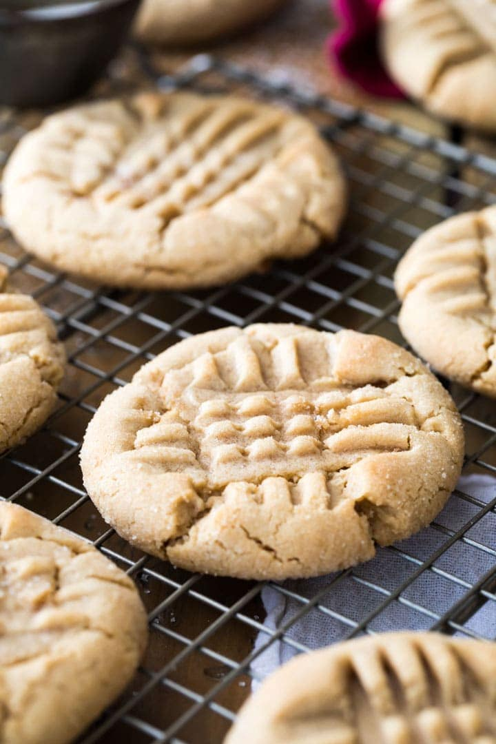 Peanut Butter cookies on a cooling rack