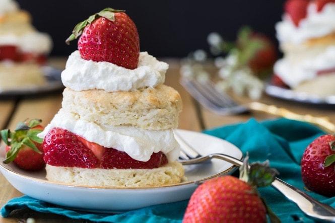 Pretty strawberry shortcake on a plate