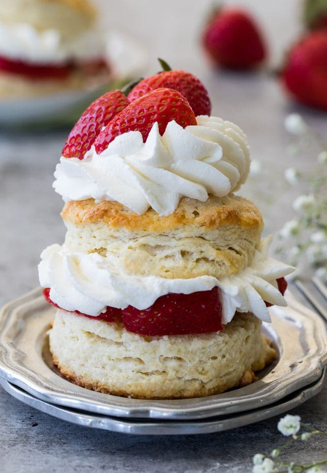 Strawberry shortcake: biscuit, whipped cream, strawberries make for the perfect easter dessert