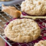 Peanut butter oatmeal cookie on cooling rack