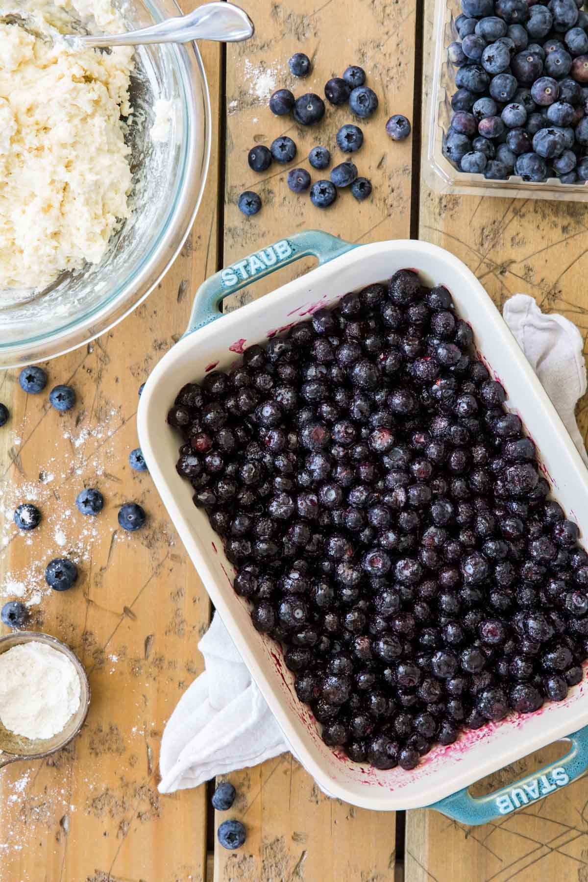 blueberries and muffin batter