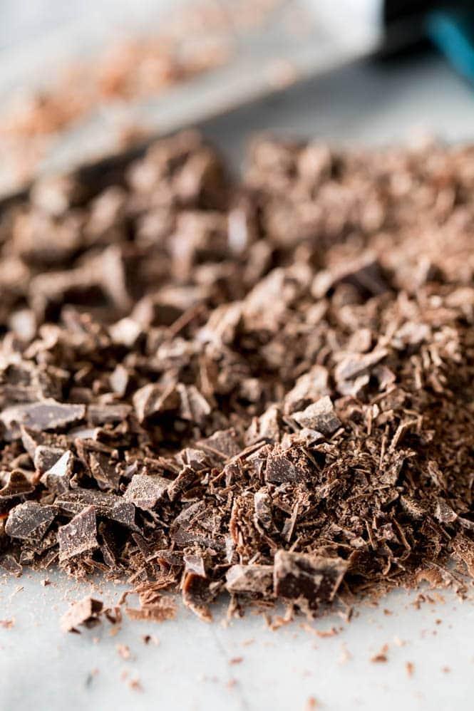 Chopped dark chocolate for dark chocolate cupcakes