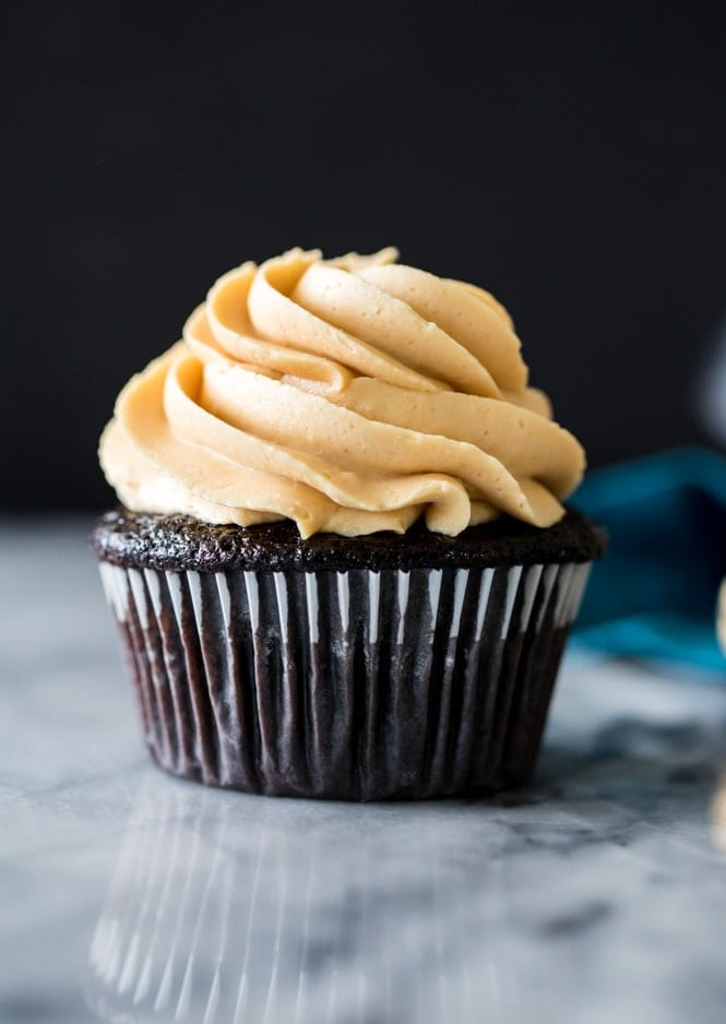 Dark Chocolate Cupcake topped with Peanut Butter Frosting