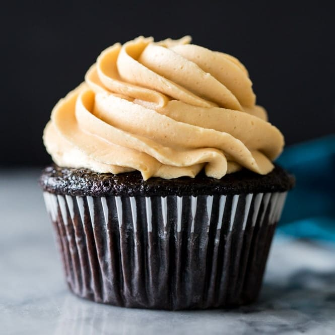 Dark Chocolate Cupcakes (with Peanut Butter Frosting!)