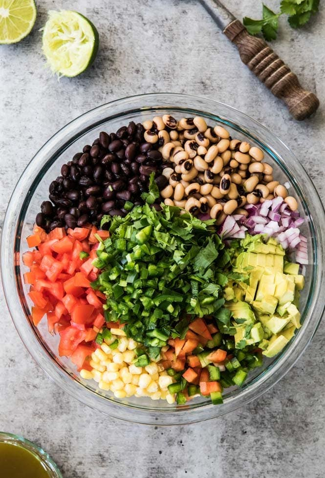 Texas Caviar ingredients in a bowl
