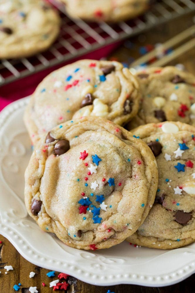 red white and blue cookies on a plate