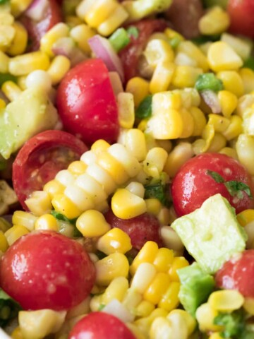 close up of corn salad in bowl