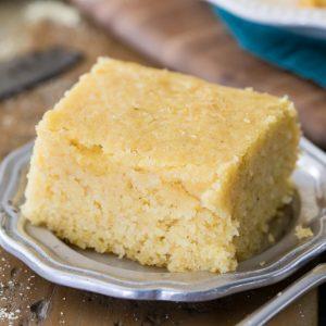 Buttermilk cornbread slice on silver plate