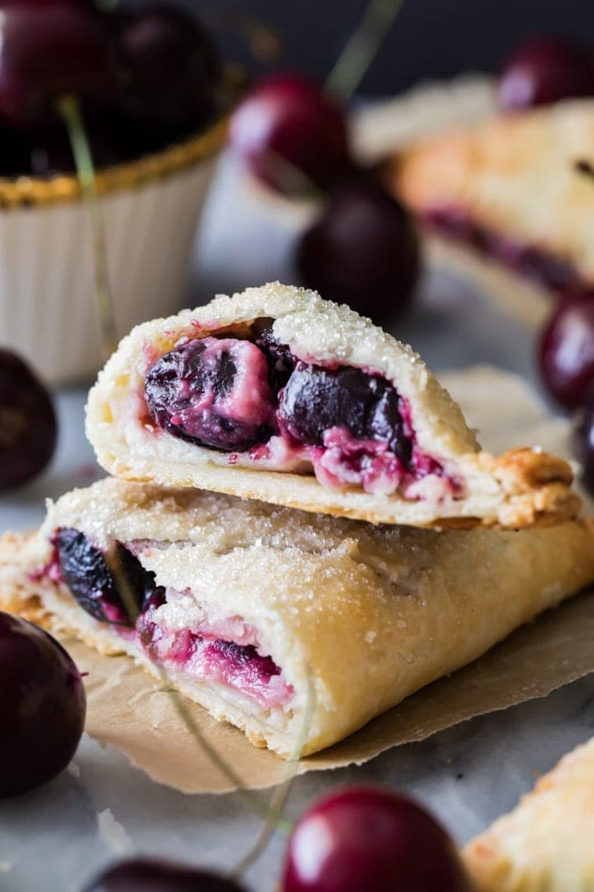 The inside of a cherry cheesecake turnover