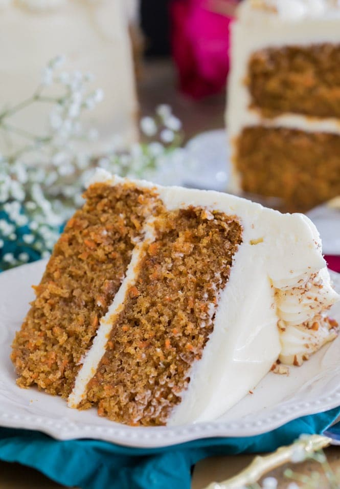 A large slice of carrot cake