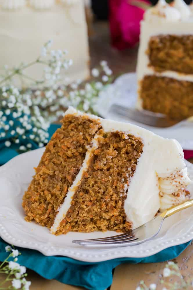 Carrot cake with a bite out of it