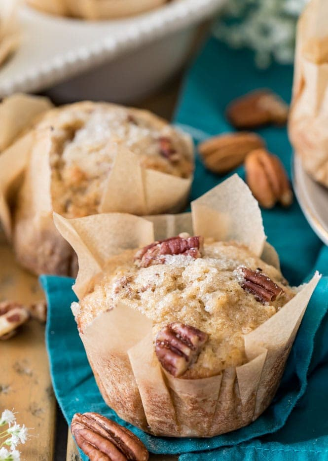 Banana Nut Muffin in parchment paper liner