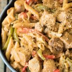 Cajun chicken pasta in pot