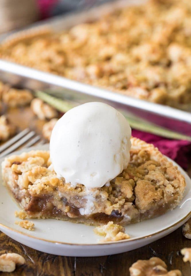 Slice of apple slab pie with ice cream
