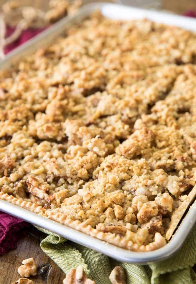 Freshly baked apple slab pie