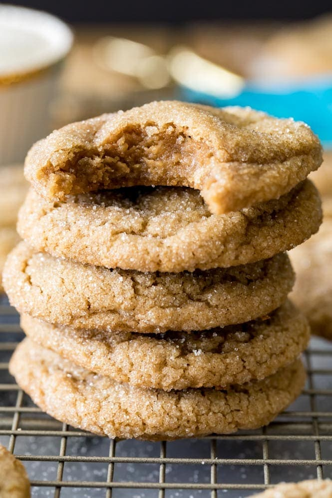 A stack of chewy brown sugar cookies