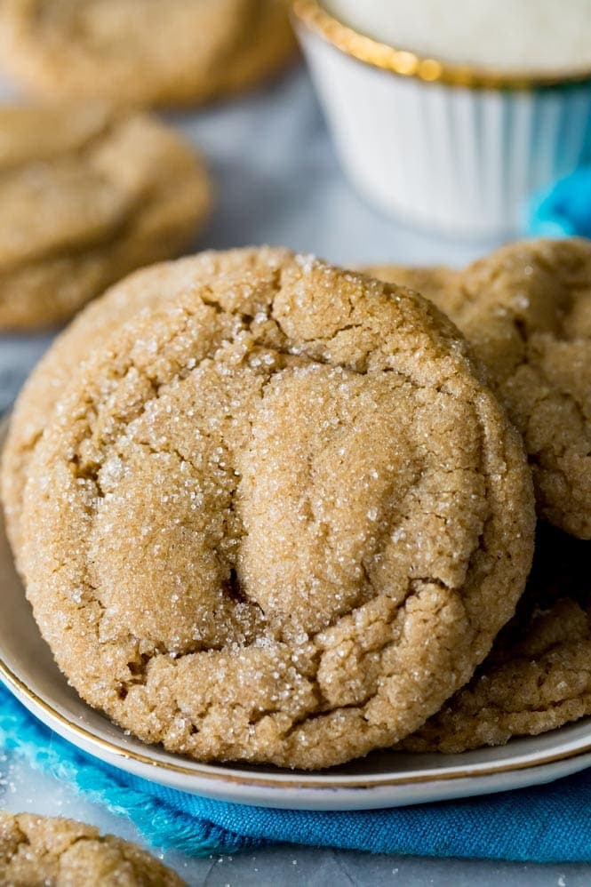 Plate of crackly brown sugar cookies