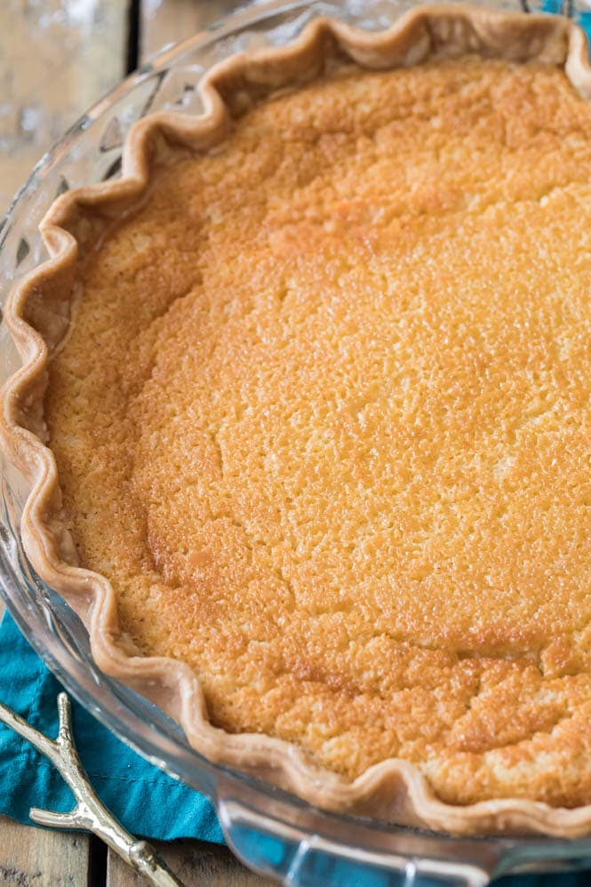 freshly baked buttermilk pie with golden surface