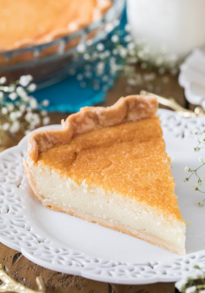 A slice of buttermilk pie