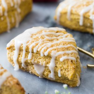 Pumpkin scone with icing drizzle