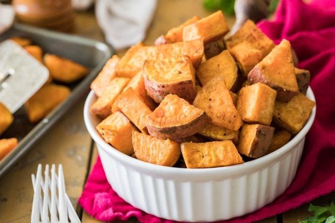 Warm prepared roasted sweet potatoes