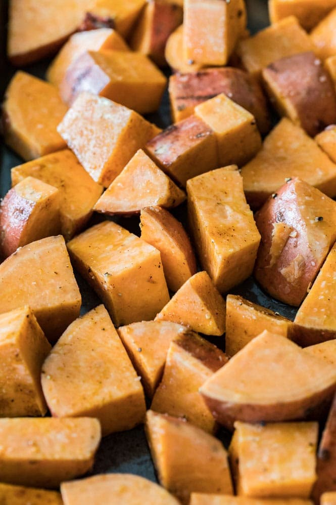 Cubed sweet potatoes for roasting/how to prepare roasted sweet potatoes
