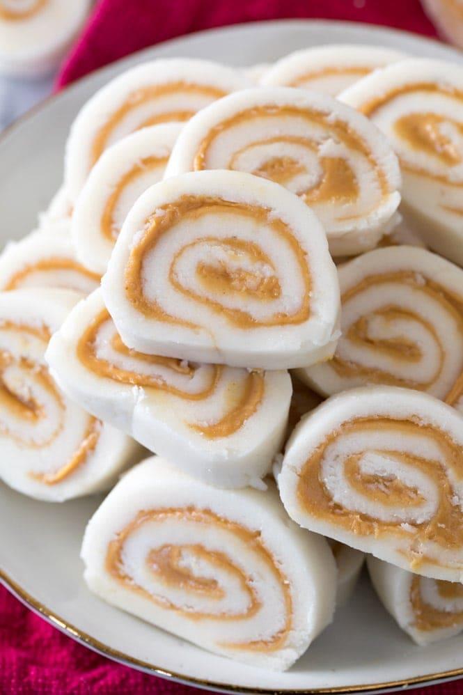 Peanut Butter Pinwheel Potato Candy Recipe on a plate