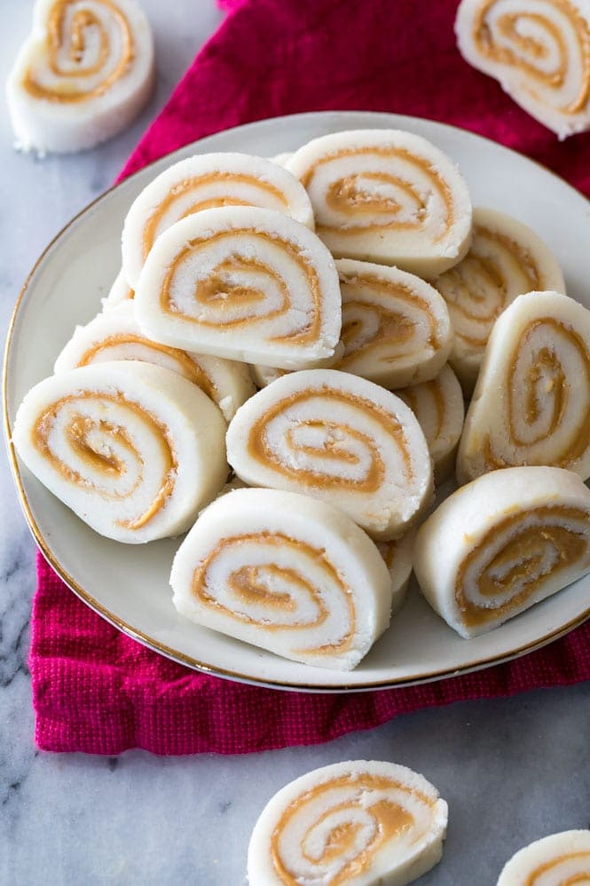 sliced potato candy peanut butter pinwheels on a plate