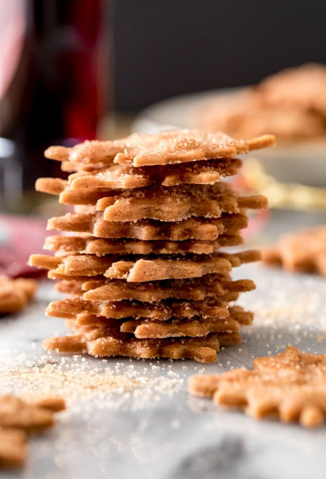 Tower of very thin maple leaf cookies