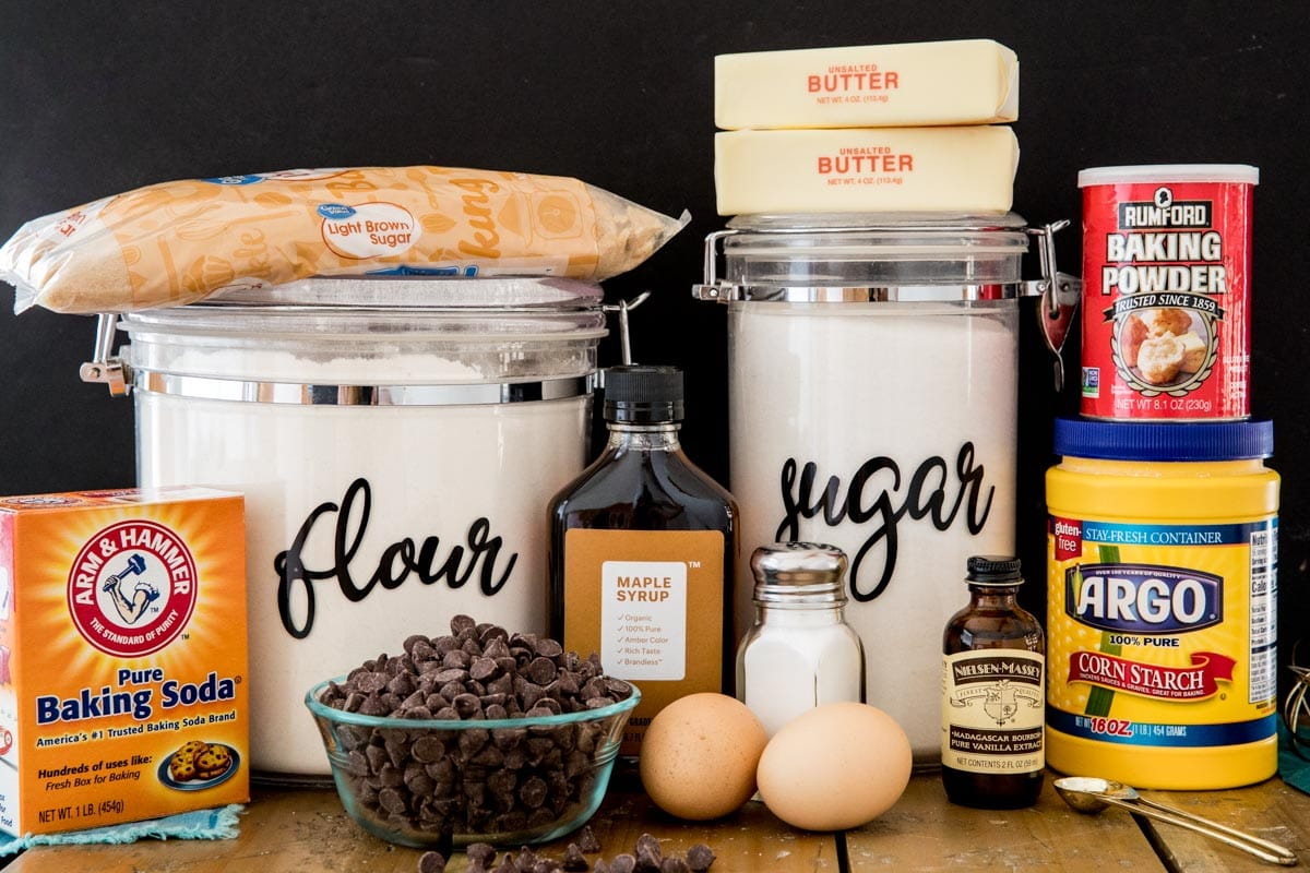 Chocolate chip cookie dough ingredients